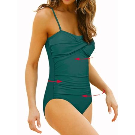 - Plus Size Womens Tankini Monokini Polka Dots One Piece Swimwear Swimsuit Beach Wear Spaghetti Strap Twisted Front Knotted Pleated Bathing Suit