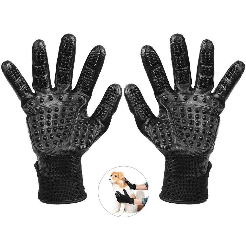 Pet Grooming Glove -Petacc Dog Deshedding Glove Pet Hair Remover Mitt, Massage Tool with Five Finger Design, Black