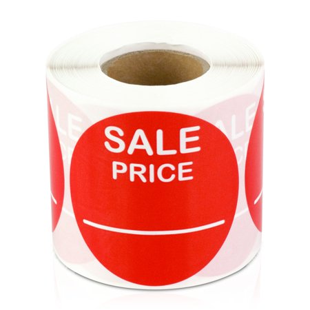"OfficeSmartLabels 2"" Round Sale Price Labels for Use Retail, Yard Sales or Garage Sale (Red, 300 Labels per Roll, 4 Rolls)"