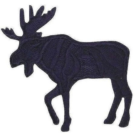 Large - Moose Silhouette - Black - Facing Left- Iron On Embroidered -