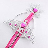 2 Pcs Princess Dress Up Accessories Role Play Prop Crown Tiara Headband and Snowflake Wand Set For Kids Birthday Christmas Toy Gift Rose Red - Tiara For Birthday