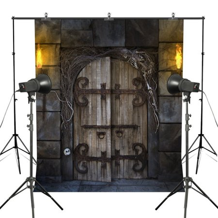 GreenDecor Polyster 5x7ft Halloween Photography Backdrops Horror Graveyard Wood Door Stone Wall Photo Backgrounds Stuio - Purple Halloween Backgrounds