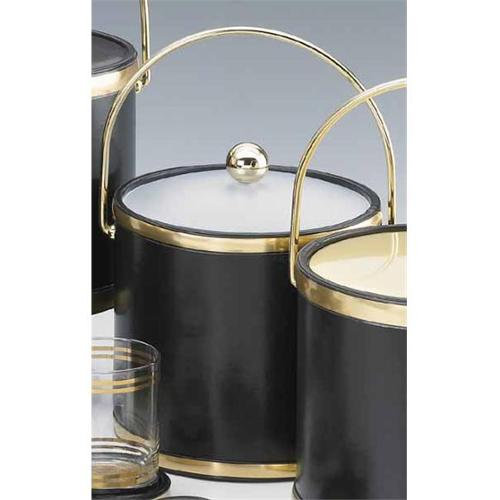 Kraftware 50165 Sophisticates Black with Brushed Brass 3 Quart Ice Bucket with Bale Handle  Bands and Acrylic Cover