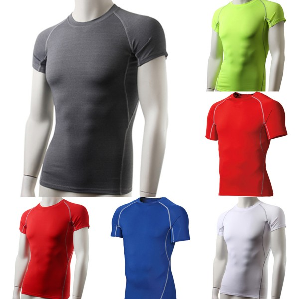 Men's Compression Base T shirt Layer Gym Short Sleeve Under Skin Tight Speed Dry by