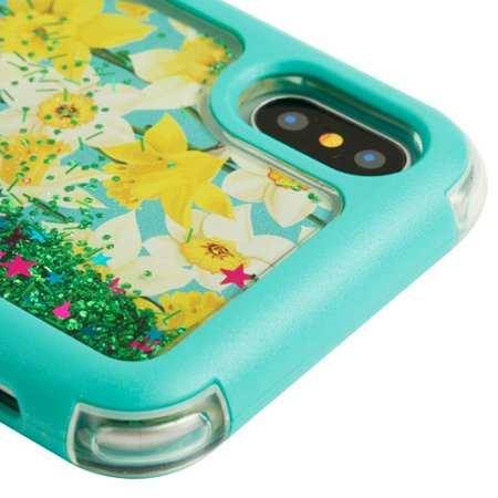 Kaleidio Case For Apple iPhone XS / X [Vivid TUFF] Glitter Quicksand Hybrid Silicon Skin Bumper Cover w/ Overbrawn Prying Tool [Liquid Spring Daffodils/Green