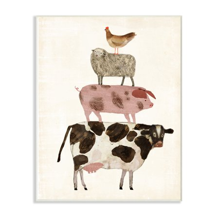 The Stupell Home Decor Collection Cow Sheep Pig and Chicken Barnyard Buds Stacked Farm Animals Wall Plaque Art, 10 x 0.5 x 15 ()