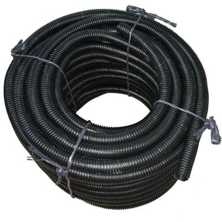 "Flexible Corrugated  LDPE Split Loom Tubing - Black - 1/2"" Dia. x 100 ft"