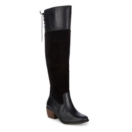 c93dcf43284 Lucky Brand - Komah Paneled Knee-High Leather and Suede Boots - Walmart.com