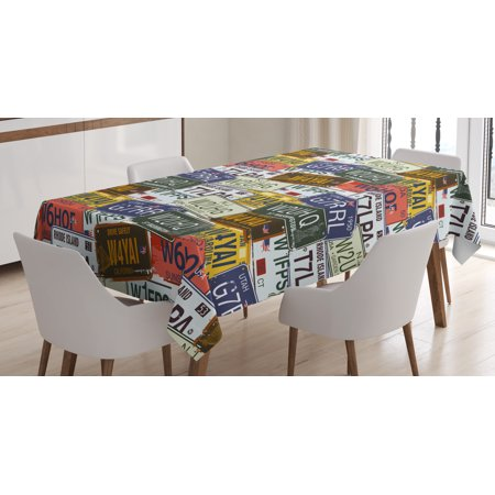 USA Tablecloth, Retro American Auto License Plates Utah Washington Rhode Island North Carolina Print, Rectangular Table Cover for Dining Room Kitchen, 52 X 70 Inches, Multicolor, by Ambesonne