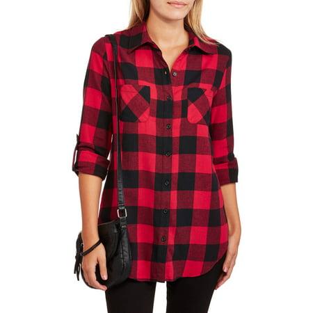 f85827f8 No Boundaries - Juniors' Plaid Button Down Shirt - Walmart.com