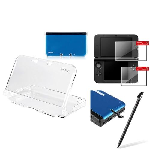 Nintendo 3DS XL Clear Case + Black Stylus + Top + Bottom LCD Protector by Insten
