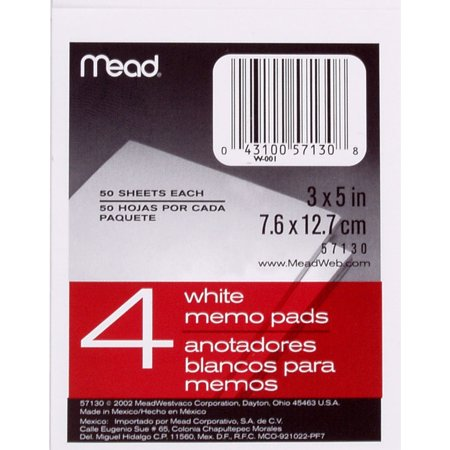 "Mead White Memo Pad 50 Counts 4 Packs 3"" x 5"""