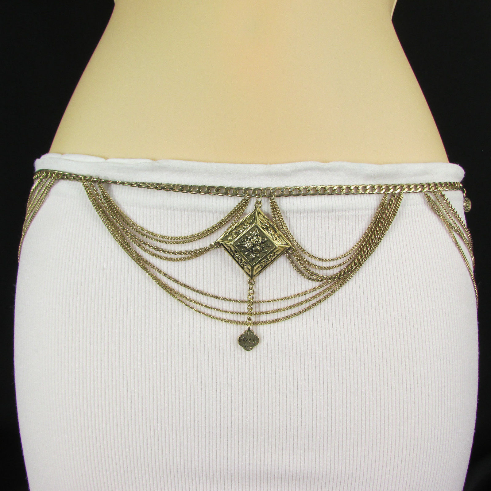 A Women Metal Chains Fashion Belt Gold Feathers Hip Waist 29-37 S M
