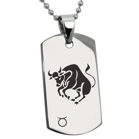 Gold Taurus Zodiac Pendant (Stainless Steel Taurus Astrology Zodiac Sign Engraved Dog Tag Pendant )