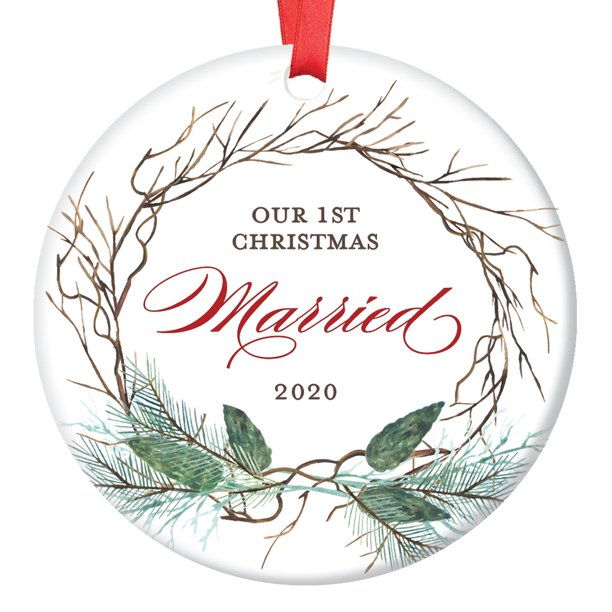 First Married Christmas Ornament 2020 1st Year Married Ornament, 2020 Christmas Ornament for Newlywed