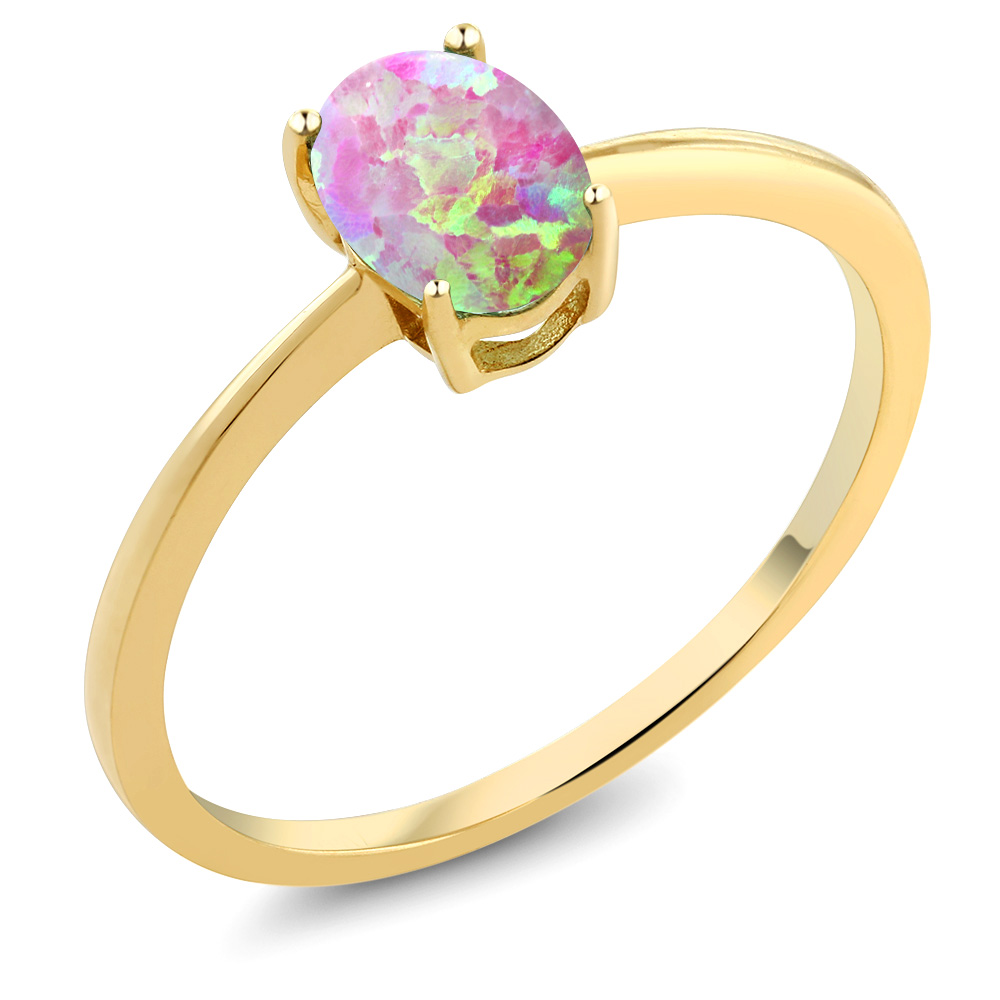 0.63 Ct Oval Pink Simulated Opal 10K Yellow Gold Solitaire Engagement Ring by Opal Rings