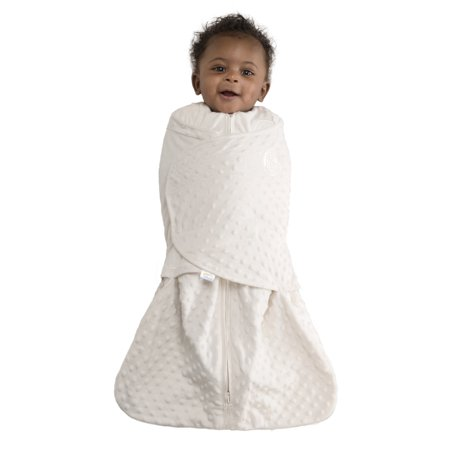 HALO SleepSack Swaddle, Velboa, Cream Plush Dots,