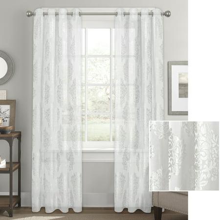 Better Homes & Gardens Sheer Velvet Medallion Blossom Window Curtain Panel ()