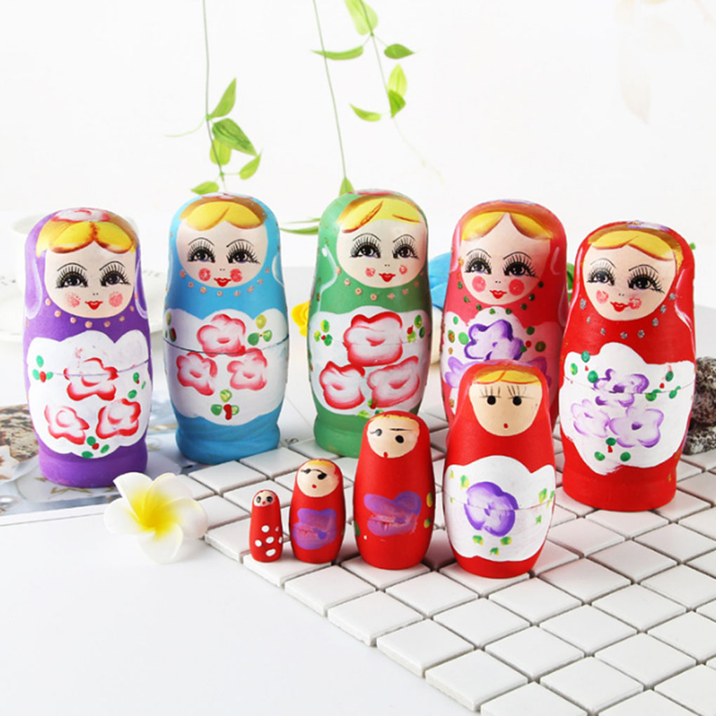 Russian Wooden Nesting Dolls Matryoshka Disney Hand Painted 5PCS 4 inch