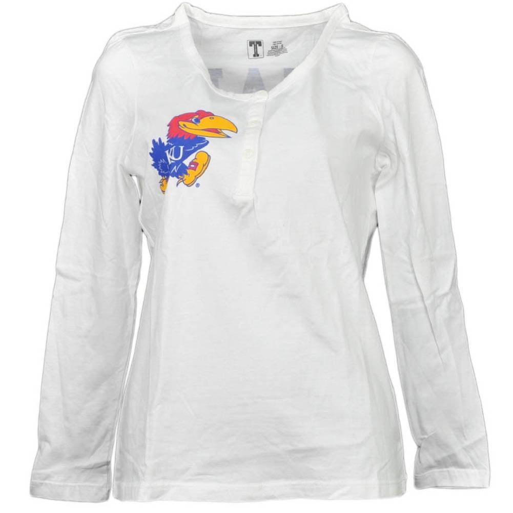 NCAA Kansas Jayhawks White Womens Long Sleeve Tshirt Button Crew Neck Medium