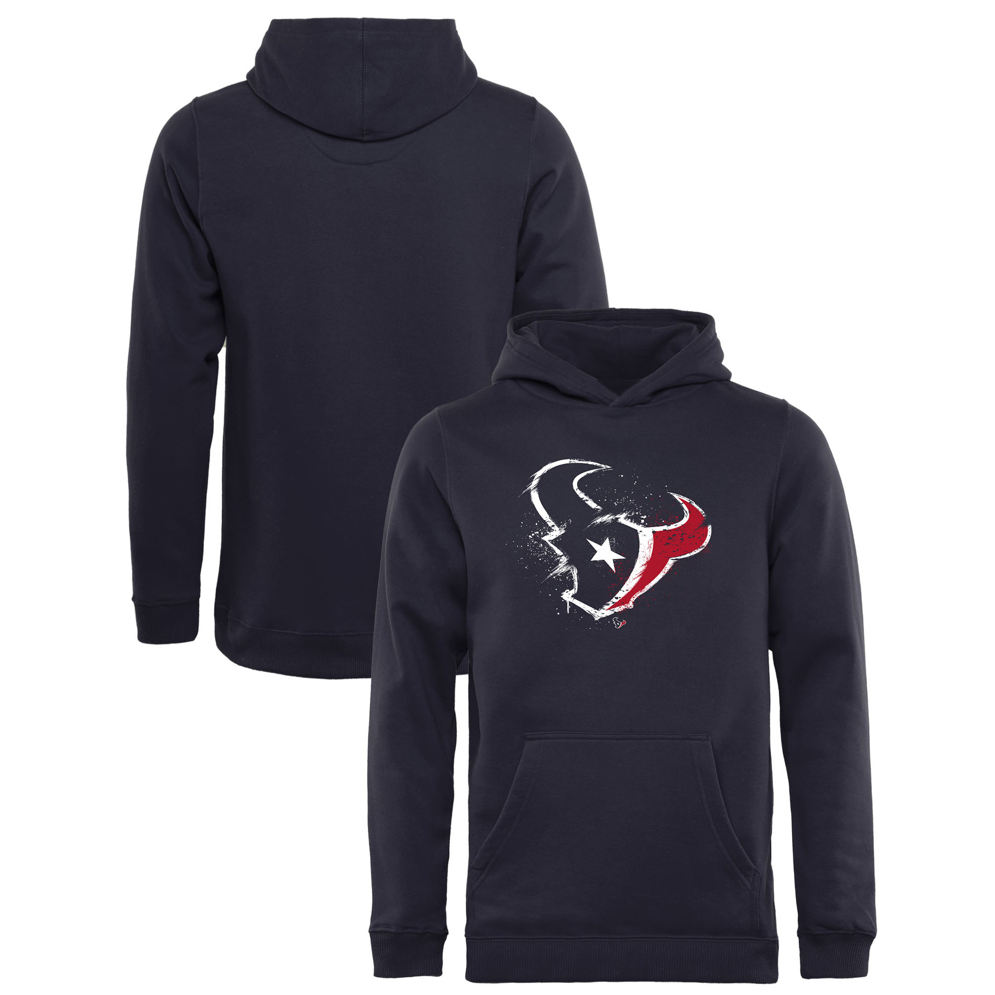 Houston Texans NFL Pro Line by Fanatics Branded Youth Splatter Logo Pullover Hoodie - Navy