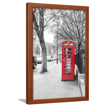 London Red Phone Boxes on Black and White Landscape Framed Print Wall Art By David Bostock ()