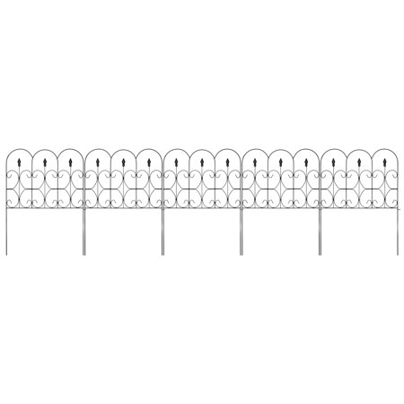 Picket Fence Landscaping - Best Choice Products 10ftx32in 5-Panel Foldable Interlocking Iron Decorative Garden Edging Fence Panels for Lawn, Backyard, Landscaping w/ Locking Hooks, Black