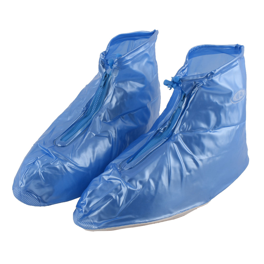 Man PVC Zippered Snow Water Resistant Rain Shoes Overshoes Boot Covers Blue Pair