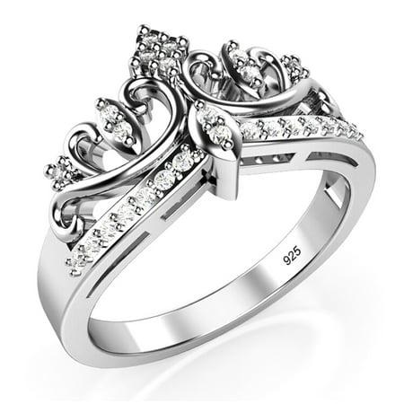 Sz 7 Sterling Silver Cubic Zirconia Princess Crown Tiara Cz Band Ring