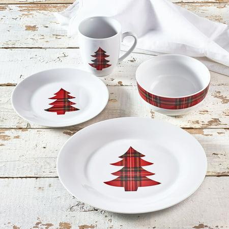 plaid christmas highlander 16 piece porcelain dinnerware set walmart exclusive