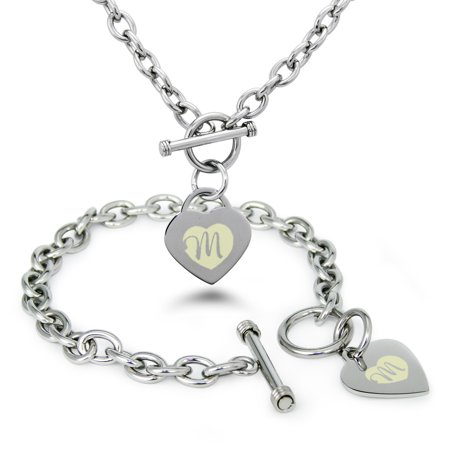 Tioneer Stainless Steel Alphabet Letter M Initial Heart Charm Toggle Bracelet Necklace