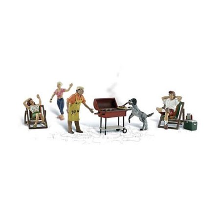 N Scenic Accents Backyard Barbeque (4 Figures, 2 Chairs, Grill, Cooler & Dog), Includes highly-detailed pieces. By Woodland Scenics