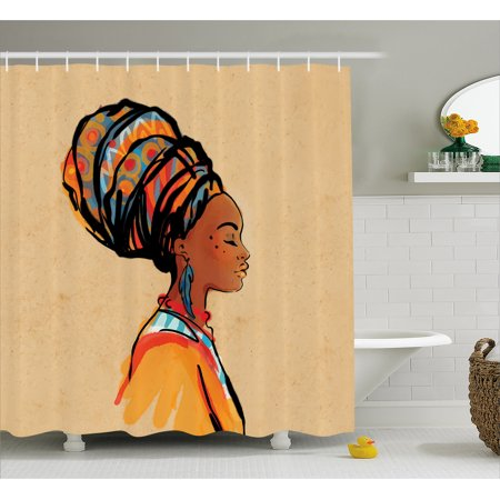 Hippie Women (African Shower Curtain, Ethnic Woman with Exotic Feather Earring and Scarf Zulu Hippie Artwork, Fabric Bathroom Set with Hooks, Caramel and Marigold, by)