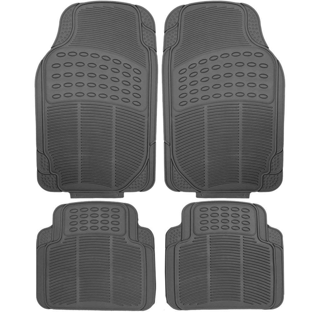 Heavy Duty Rubber Front and Rear Truck Sedan SUV Floor Mats (Beige)