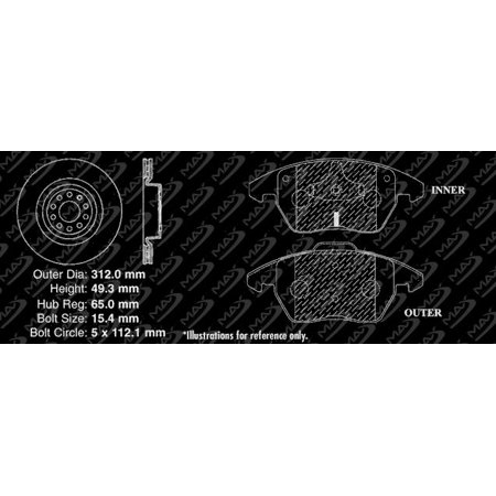 Max Brakes Front Premium Brake Kit [ OE Series Rotors + Metallic Pads ] TA049441 | Fits: 2012 12 2013 13 VW Beetle w/ 312mm Diameter Front Rotors and w/o Electronic Wear Sensor on Front Brake Pads - image 1 de 8