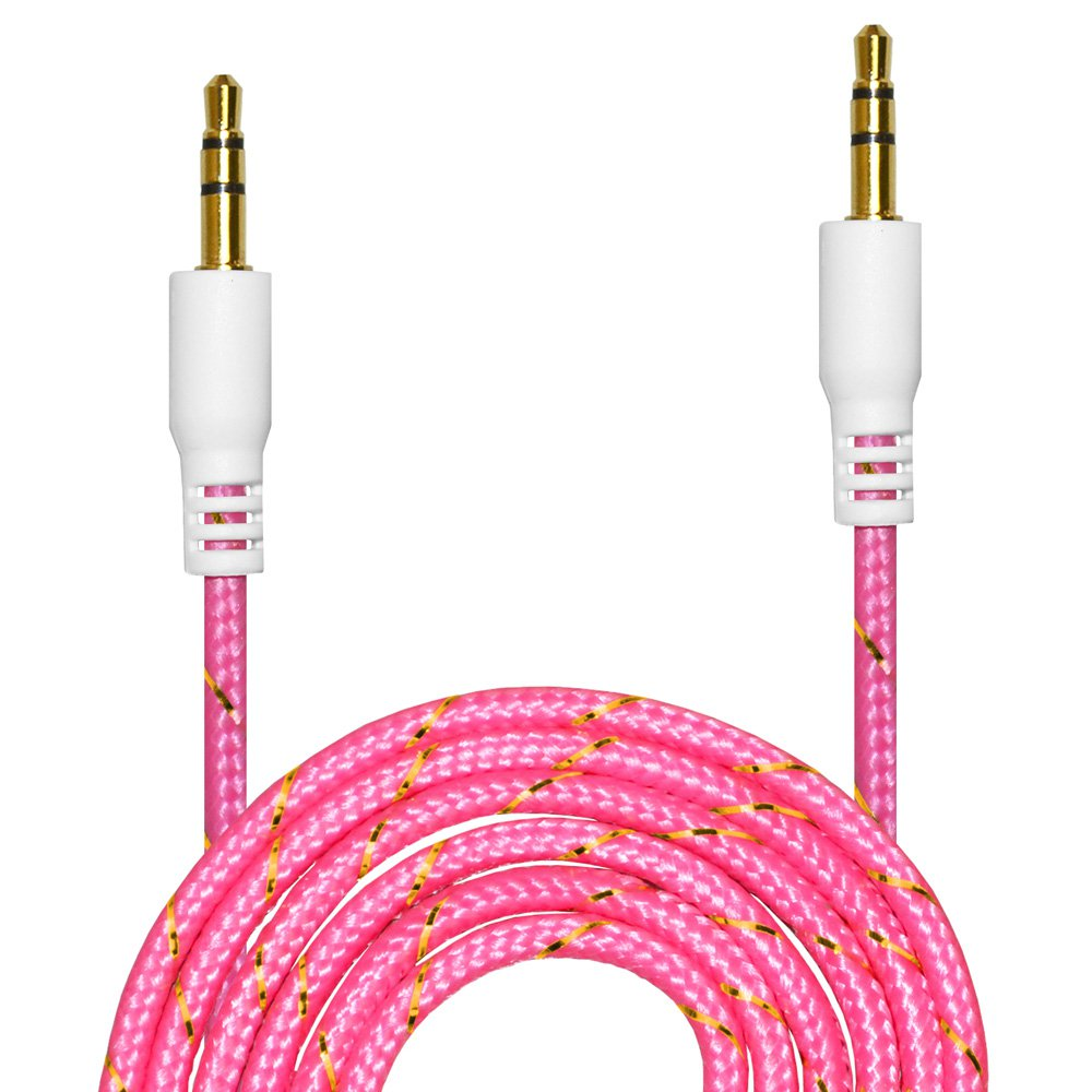 AUX Cable [ 2-Pack, 3ft - Copper Shell, Hi-Fi Sound Quality] - 3.5mm Audio Cable Male to Male / Auxiliary Cable / Aux Cord for Car Stereos, iPod, iPhone, Beats, SkullCandy and More - Pink