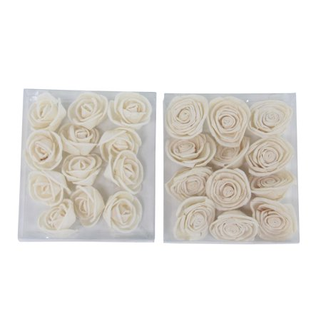 Decmode Boxed Natural White Rose Sola Flowers, White - Set of 2 ()