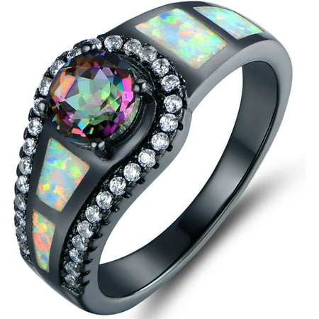 Mystic Topaz and Lab Created Opal Black Rhodium-Plated Cocktail Ring Vintage Opal Cocktail Ring