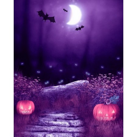 MOHome Polyster 5x7ft Spooky Halloween Scary Pumpkins Ghost Eyes Bats Moon Photography Backdrops Indoor Studio Backgrounds Photo Props (Scary Halloween Pumpkin Eyes)