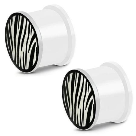 Glow in the Dark Soft Silicone Zebra Stripe Saddle Ear Plugs, - Zebra Ears
