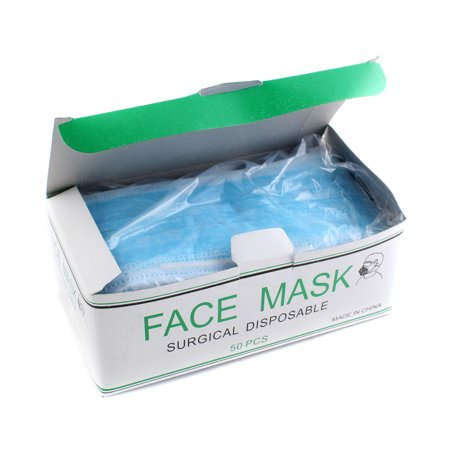 50pcs Disposable Blue Surgical Earloop Face Mask Flu Medical Salon Dust Cleaning Mouth