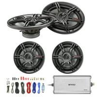 """Crunch 6.5"""" 3-Way Black Car Speakers (Pair), Crunch 6x9"""" 3-Way Car Black Speakers (Pair), Enrock Marine/Outdoor 4-Channel Marine Amplifier, Enrock Audio 18 AWG Gauge 50 Feet Speaker Wire Cable"""