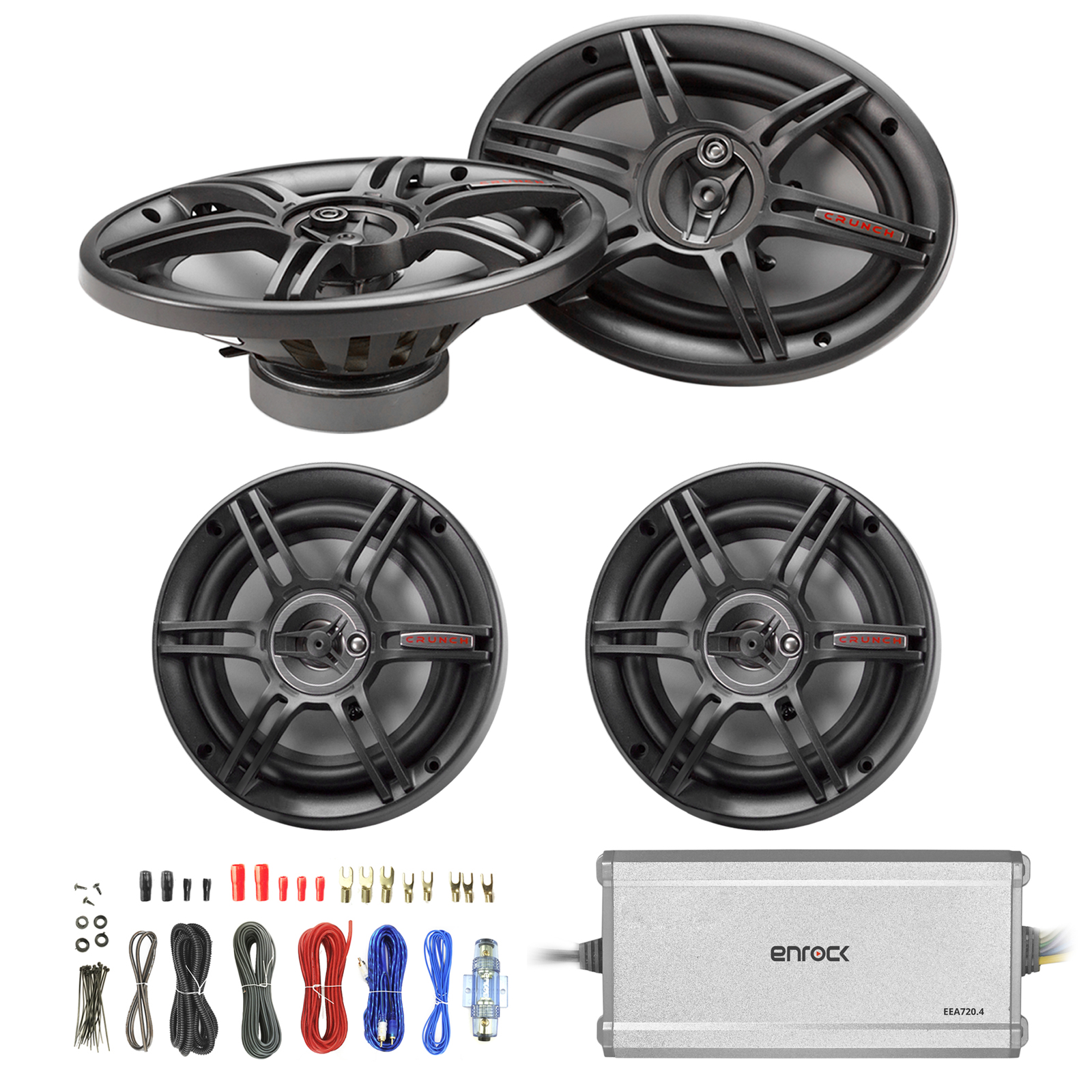 "Crunch 6.5"" 3-Way Black Car Speakers (Pair), Crunch 6x9"" 3-Way Car Black Speakers (Pair), Enrock Marine/Outdoor 4-Channel Marine Amplifier, Enrock Audio 18 AWG Gauge 50 Feet Speaker Wire Cable"