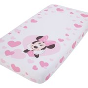Disney Minnie Mouse - Pink and White Hearts Photo Op Fitted Crib Sheet