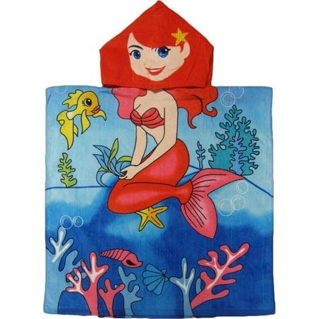 Kreative Kids Girls Blue Sitting Mermaid Poncho Hooded Bath & Beach Towel](Hooded Mermaid Towel)