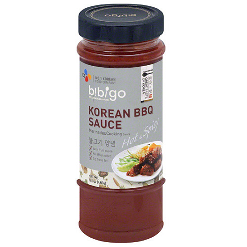 Bibigo Hot & Spicy Korean BBQ Sauce Marinade & Cooking Sauce, 16.9 oz, (Pack of 6)