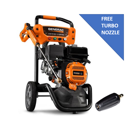 Generac 7019 196CC Gas 3,100 PSI 2.4 GPM Pressure Washer with Free Generac Turbo (Turbo Brush Nozzle)