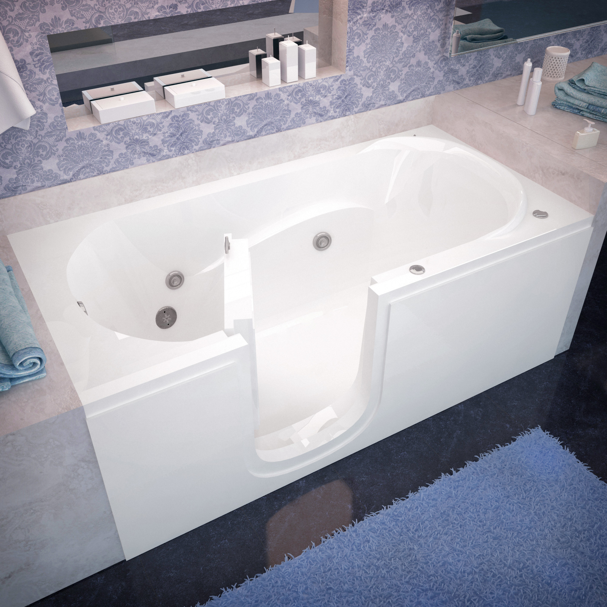 "Avano AV3060SILH Step-In Tubs 59-5/8"" Acrylic Whirlpool Bathtub for Alcove Installations with Left Drain"