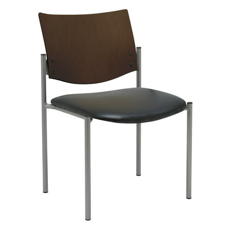 KFI Evolve Series Guest Reception Waiting Room Chair, Armless with Wood Back, Multiple Colors and finish