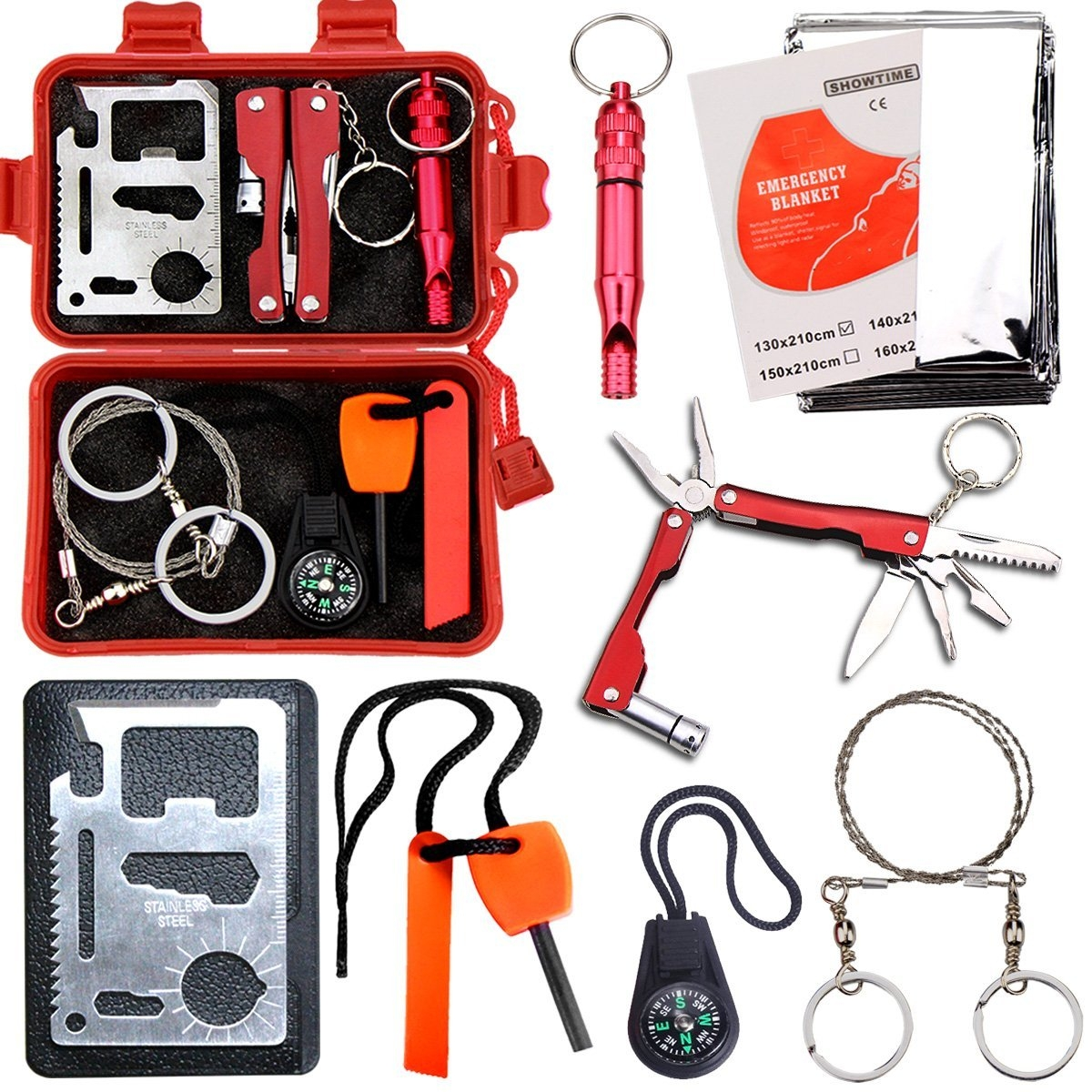 Survival Kit EMDMAK Outdoor Emergency Gear Kit for Camping Hiking Travelling or Adventures by